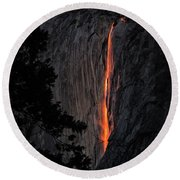 Fire Fall Round Beach Towel