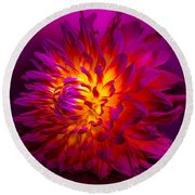 Fire Flower Round Beach Towel