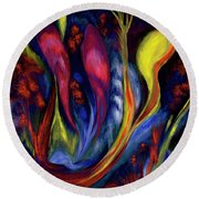 Fire Flowers Round Beach Towel