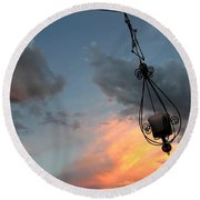 Fire In The Clouds Round Beach Towel