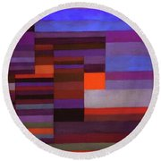 Fire In The Evening Round Beach Towel