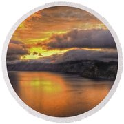 Fire In The Lake #1 Round Beach Towel