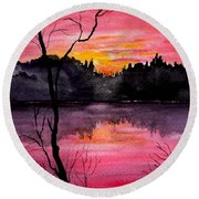 Fire In The Sky    Lake Arrowhead Maine Round Beach Towel