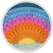 Fire In The Sky Round Beach Towel