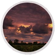 Fire In The Sky Tonight Round Beach Towel