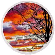 Fire Inthe Sky Round Beach Towel by MaryLee Parker