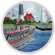 Fire Island Lighthouse And Boats In The Great South Bay Towel Version Round Beach Towel