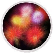 Fire Mums Floral - Fireworks Collage Round Beach Towel