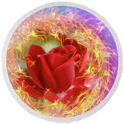 Fire Of Desire Round Beach Towel