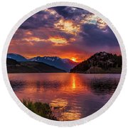 Fire On The Water Reflections Round Beach Towel