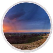 Fire On The West Side Round Beach Towel