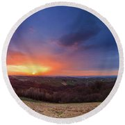 Round Beach Towel featuring the photograph Fire On The West Side by Davor Zerjav