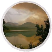 Fire Over St Mary Lake Round Beach Towel