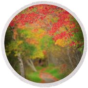 Fire Red Path  Round Beach Towel