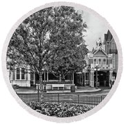 Fire Station Main Street In Black And White Walt Disney World Mp Round Beach Towel