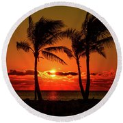 Fire Sunset Through Palms Round Beach Towel