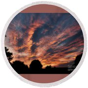 Fire Swept Sky  Round Beach Towel
