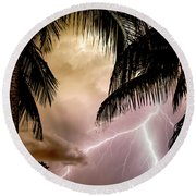 Fire Under The Palms Round Beach Towel