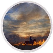 Fire Up The Sunset Round Beach Towel