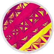 Round Beach Towel featuring the drawing Fire Velvet Lace by Kim Sy Ok