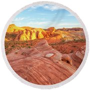 Fire Wave In Vertical Round Beach Towel by Joseph S Giacalone