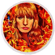 Fire Woman Abstract Fantasy Art Round Beach Towel