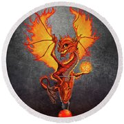 Fireball Dragon Round Beach Towel by Stanley Morrison