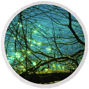 Fireflies Round Beach Towel by David Stasiak