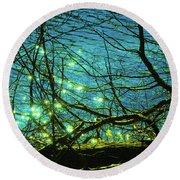 Fireflies Round Beach Towel