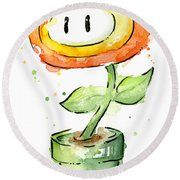 Fireflower Watercolor Painting Round Beach Towel