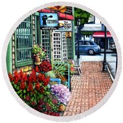 Firefly Lane Bar Harbor Maine Round Beach Towel by Eileen Patten Oliver