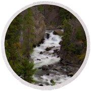 Round Beach Towel featuring the photograph Firehole Canyon by Steve Stuller