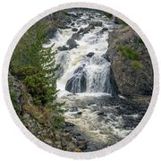 Firehole Falls Round Beach Towel