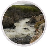 Firehole River Cascade Round Beach Towel