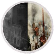Fireman - New York Ny - Big Stink Over Ink 1915 - Side By Side Round Beach Towel