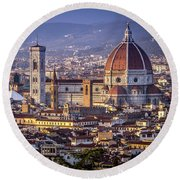 Firenze E Il Duomo Round Beach Towel by Sonny Marcyan