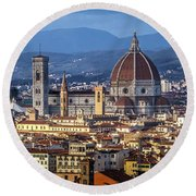 Round Beach Towel featuring the photograph Firenze by Sonny Marcyan