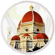 Firenze Travel Poster 1930 Round Beach Towel