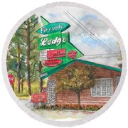 Fireside Lodge In Lake Tahoe, California Round Beach Towel