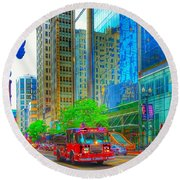 Firetruck In Chicago Round Beach Towel