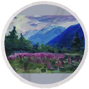 Round Beach Towel featuring the painting Fireweed At Outer Point Alaska by Yulia Kazansky