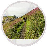 Round Beach Towel featuring the photograph Fireweed Seascape by Nick Boren