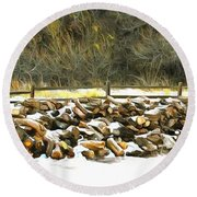 Round Beach Towel featuring the photograph  Floyd Snyder by Firewood in the Snow at Fort Tejon