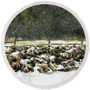 Round Beach Towel featuring the photograph Firewood In The Snow At Fort Tejon by Floyd Snyder