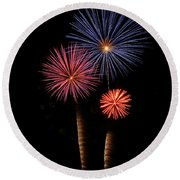 Firework Trees Round Beach Towel