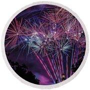 Fireworks 2 Round Beach Towel