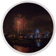 Fireworks, 2018 Round Beach Towel