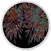 Fireworks Abstract Round Beach Towel by Cathy Anderson