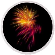 Fireworks Abstract Nbr 1 Round Beach Towel