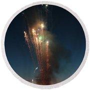 Fireworks After Sunset Round Beach Towel